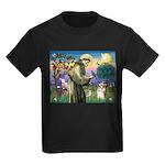 St Francis /Welsh Corgi (p) Kids Dark T-Shirt