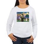St Francis /Welsh Corgi (p) Women's Long Sleeve T-