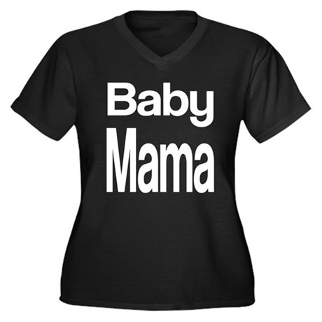 Baby Mama Women's Plus Size V-Neck Dark T-Shirt