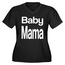 Baby Mama Women's Plus Size V-Neck Dark T-Shirt