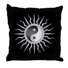 Black Starburst Yin Yang Throw Pillow