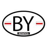 Pa-Belarusku Double Flag Oval Decal