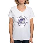 Purple Starburst Yin Yang Women's V-Neck T-Shirt