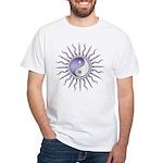 Purple Starburst Yin Yang White T-Shirt