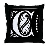 Art Nouveau Initial C Throw Pillow