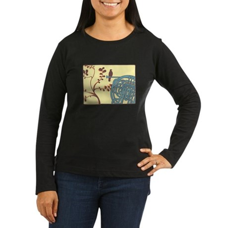 Vintage Horn Women's Long Sleeve Dark T-Shirt
