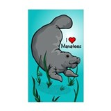 I Love Manatees Rectangle Sticker 10 pk)