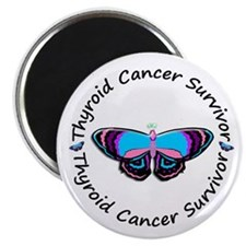 "Butterfly Survivor 3 (Thyroid Cancer) 2.25"" Magnet"
