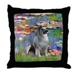 Lilies / Keeshond Throw Pillow