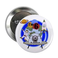 "Outer Space 6th Birthday 2.25"" Button (10 pack)"