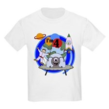 Outer Space 4th Birthday Kids T-Shirt