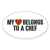 My Heart Belongs to a Chef Oval Decal