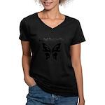 Social Butterfly Women's V-Neck Dark T-Shirt