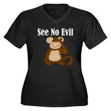 See No Evil Monkey Women's Plus Size V-Neck Dark T