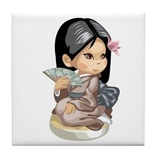 Cute Asian girl 3 Tile Coaster