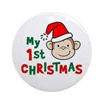My First Christmas - Monkey Ornament (Round)