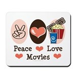 Peace Love Movies Mousepad