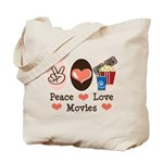 Peace Love Movies Tote Bag