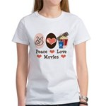 Peace Love Movies Women's T-Shirt