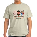 Peace Love Movies Light T-Shirt