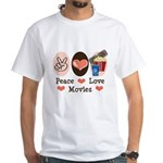 Peace Love Movies White T-Shirt