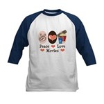 Peace Love Movies Kids Baseball Jersey