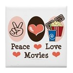 Peace Love Movies Tile Coaster