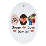 Peace Love Movies Oval Ornament