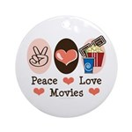 Peace Love Movies Ornament (Round)