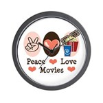 Peace Love Movies Wall Clock