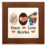 Peace Love Movies Framed Tile