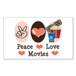 Peace Love Movies Rectangle Sticker