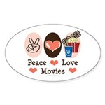 Peace Love Movies Oval Sticker