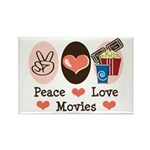 Peace Love Movies Rectangle Magnet (100 pack)