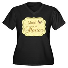 Bird Maid of Honor Women's Plus Size V-Neck Dark T