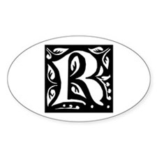 Art Nouveau Initial R Oval Decal
