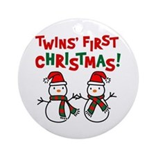 Twins' 1st Christmas - Snowman Ornament (Round)