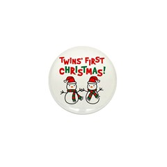 Twins' 1st Christmas - Snowman Mini Button (100 pa