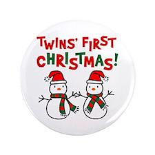 "Twins' 1st Christmas - Snowman 3.5"" Button"