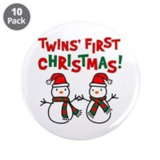 "Twins' 1st Christmas - Snowman 3.5"" Button (10 pac"