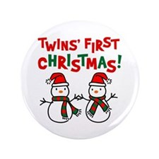 "Twins' 1st Christmas - Snowman 3.5"" Button (100 pa"