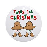 Twins' 1st Christmas Ornament (Round)