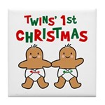 Twins' 1st Christmas Tile Coaster