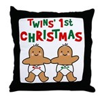 Twins' 1st Christmas Throw Pillow