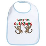 Twins' First Christmas - Monkey Bib