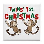 Twins' First Christmas - Monkey Tile Coaster