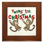 Twins' First Christmas - Monkey Framed Tile