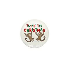 Twins' First Christmas - Monkey Mini Button (10 pa