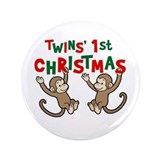 "Twins' First Christmas - Monkey 3.5"" Button (100 p"