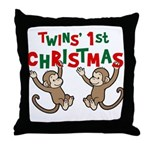 Twins' First Christmas - Monkey Throw Pillow
